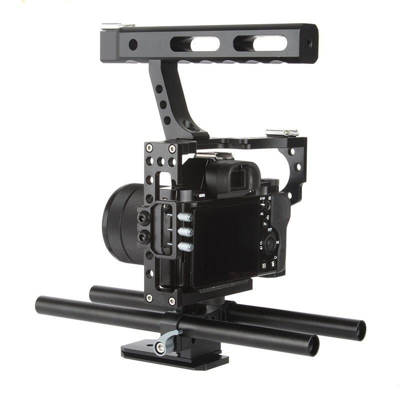 Mini Durable Rod Rig Camera Video Cage & Handle Grip fits for Sony A7 A7r A6300 - intl