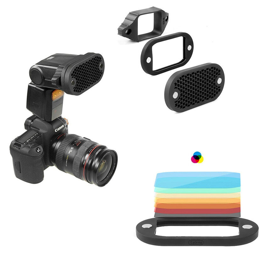 Lands 2 in 1 Universal Honeycomb Grid Set with 7 Color Gels for External Camera Flashes Speedlight Magnet Instant Attachment