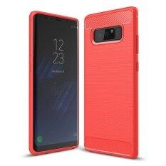 ส่วนลด กรณี Mooncase สำหรับ Samsung Galaxy หมายเหตุ 8 คาร์บอนไฟเบอร์ที่ยืดหยุ่นได้หล่นการป้องกันป้องกันการเกิดขรุขระเกราะกรณีสีแดง นานาชาติ Samsung ใน ฮ่องกง