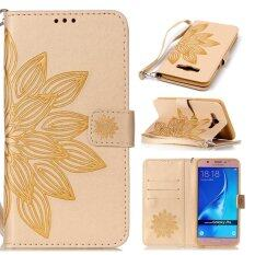 ส่วนลด Moonmini Case For Samsung Galaxy J7 2016 J710 Case Flower Pattern Leather Case Flip Stand Cover Golden Intl จีน