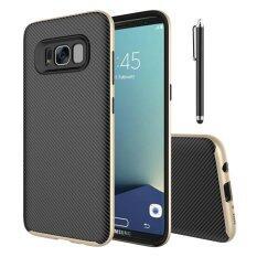 ส่วนลด กรณี Moonmini สำหรับ Samsung Galaxy S8 พลัสกรณีพื้นผิวคาร์บอนไฟเบอร์กรณีฝาครอบกันลื่นสองชั้นปกหลัง ทอง นานาชาติ Moonmini