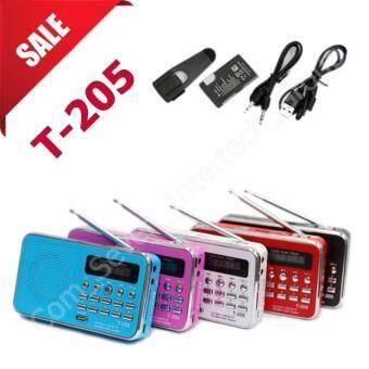 ลำโพงวิทยุ ลำโพง Mp3/USB/SD Card/Micro SD Card รุ่นT-205 (สีขาวฟ้าแดงดำชมพู) 5เครื่อง 5สี