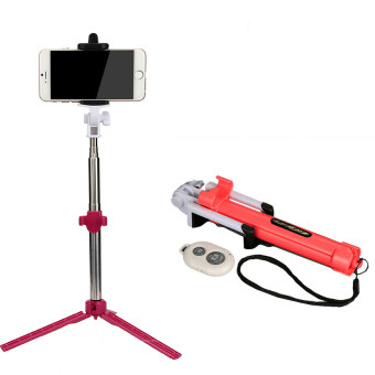 Multi Function Bluetooth Selfie Sticks + Tripods Monopods (Red)