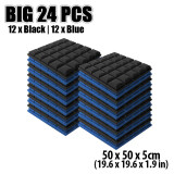 ส่วนลด New 24Pcs Black And Blue Bundle Hemisphere Grid Type Acoustic Panel Sound Absorption Soundproof Foam 50 X 50 X 5Cm Kk1040 Arrowzoom