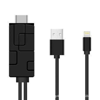 สายHDMIต่อโทรศัพท์เข้าทีวี New 2m for 8 pin Lightning To HDMI/HDTV AV TV Cable Adapter 1080P For Apple iPhone x 8/8plus 7 7S plus 6 6S Plus 5S iPad Mini iPad Air (Firmware upgrade OTA)