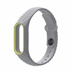 NEW AURORA Xiaomi สายรัดข้อมือ Wristband Strap for Xiaomi Mi Band 2 (เทาเหลือง)