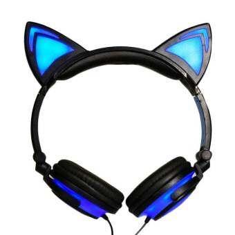 ใหม่การ์ตูนแมวหูหูฟังพับได้กระพริบเปล่งปลั่งหูฟังหูฟังเกมกับไฟ LED สำหรับคอมพิวเตอร์พีซีโทรศัพท์มือถือแล็ปท็อป - Blue - INTL