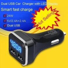 ราคา New Dual Usb Car Cigarette Charger With Led Display Volt Amp Meter Dc 4 8A 5V Intl ใน จีน