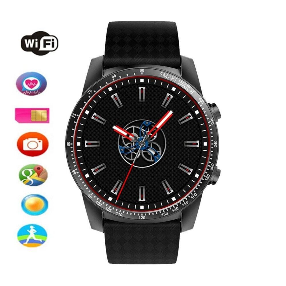 niceEshop KW99 Smart Watches Android 5.1, IOS,1.39 inch AMOLED, HD Display,Gps Heart Rate Watch, Information Synchronization, Phone Function, WIFI, Weather, Calendar, Anti-lost and Remote Control (Black) - intl