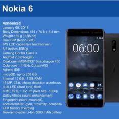 "Nokia 6 -โนเกีย 4G - 5.5""Full HD/Ram 3GB/Rom 32GB/16MP/8MP/New 2017/ Black ประกันศูนย์"