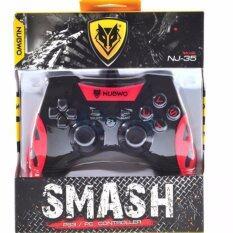 NUBWO จอยเล่นเกม NJ-35 สำหรับ PS3 PC (สีดำ/สีแดง)