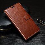 ราคา Oil Buffed Crazy Horse Leather Wallet Flip Case For Sony Xperia Xa Xa Dual Brown Intl เป็นต้นฉบับ