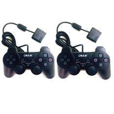 OKER 2set Gaming JoyStick for Playstation รุ่น PSII-709 จอยเกมส์ เพลย์ 2 แพ็คคู่  (สีดำ)
