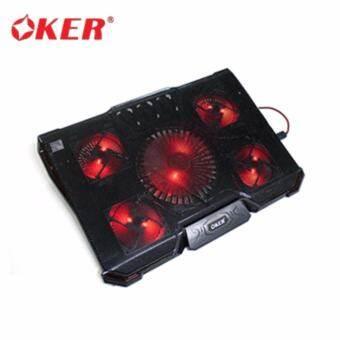 OKER Cooling Pad Gaming X735 พัดลมระบายความร้อน โน๊ตบุ๊ต LED 5 ใบพัด Two usb hub wite two fan speed switch -