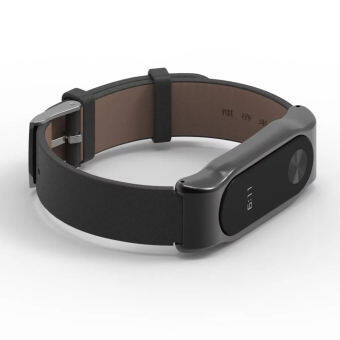 Original Mijobs Strap For Xiaomi Mi Band 2 Metal Leather Belt Bracelet For MiBand 2 Wristbands Replace Accessories For Mi Band 2 – Black - intl-