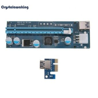 PCI-E 1X to 16X Extender Riser BTC Miner Card 6Pin Cable with LED Light (Blue) - intl