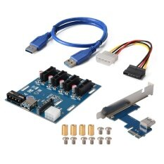 Pci E 1X 4 สล็อต Switch Hub Riser Card Power Connector สาย Usb 3 เป็นต้นฉบับ
