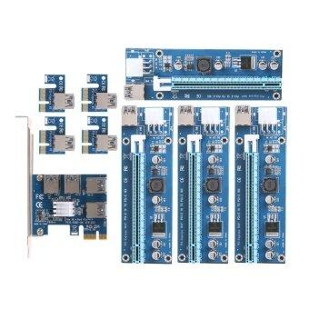 PCI-e to 4 USB 3.0 Converter Bitcion Mining Card and Dual PCI-e Slot 6Pin Adapter Card