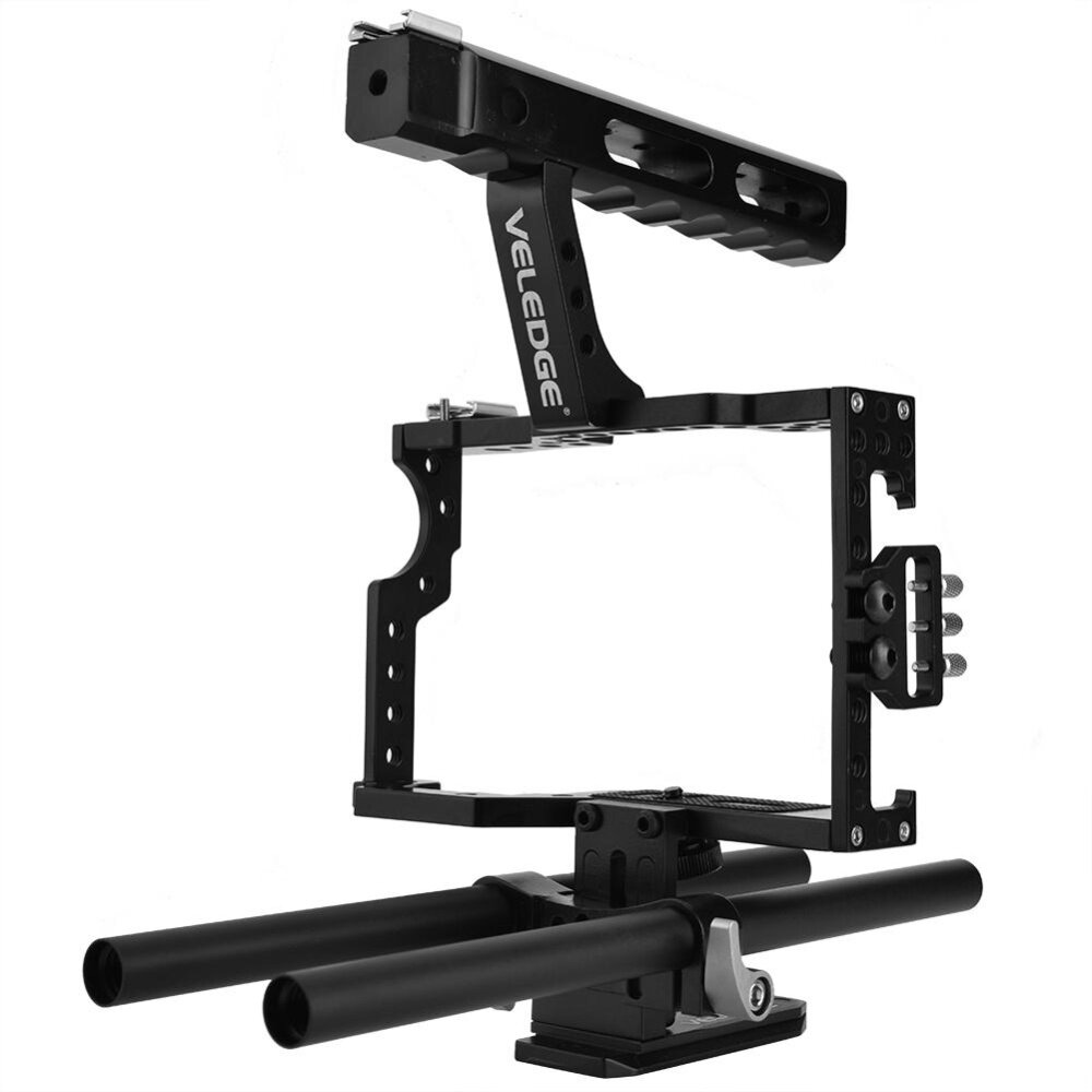Portable Aluminum Camera Cage Rig Stabilizer Top Handle Grip Accessory for DSLR Camera DV - intl