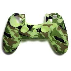 ซิลิโคน PS4 Camouflage Green Silicone Rubber Skin light Controller for PlayStation 4 Soft Protective
