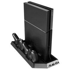 แท่นวาง ที่ชาร์ท พัดลม PS4 Cooling Station Vertical Stand with 2 Controller Charging Dock PlayStation 4 2 Cooling Fans+2 Charging Port+3 USB Port