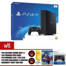 PS4 PRO : JET BLACK [1TB] + PS4 Thumb Grips + PS4 Charger cable + WINNING 2018 + NEW DUALSHOCK 4 LIGHTBAR