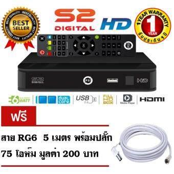 PSI S2 HD กล่องรับสัญญาณดาวเทียม ระบบ HD รับไทยคม C band และ KU band แถมฟรีสาย RG6 ยาว 5 เมตร พร้อมปลั๊ก 75 โอห์ม