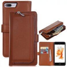ซื้อ กระเป๋าหนัง Pu ฝากระเป๋าสตางค์กระเป๋าเล็กสำหรับ Apple Iphone 7 Plus สีน้ำตาล ออนไลน์ จีน