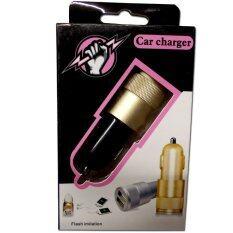 ราคา Qkong Car Charger 2Usb ที่ชาร์จไฟ ในรถ 2หัว No4 ดำ ทอง ราคาถูกที่สุด