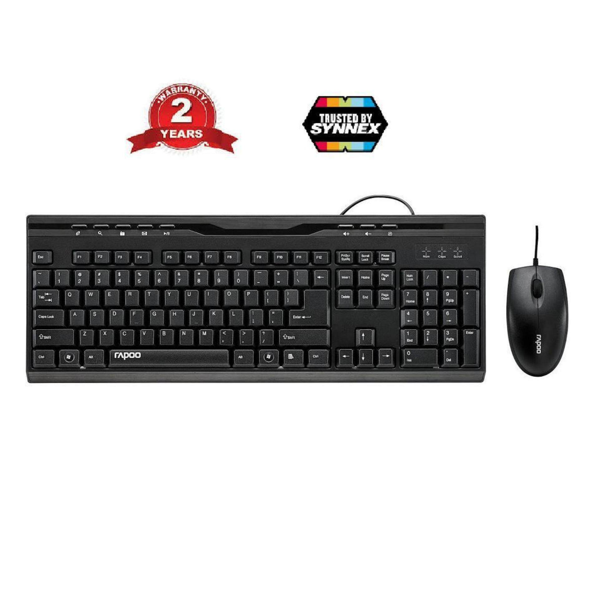 Rapoo Optical Mouse & keyboard Combo NX1710-Black -2 Years (By Synnex)