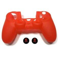 ซิลิโคน Red Silicone Rubber Skin Light Controller for PS4 PlayStation 4 Controller Set (Skin X 1 + Thumb Grip X 2)