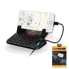 โปรโมชั่น Remax Car Holder Charger Super Flexible แท่นวางโทรศัพท์ในรถยนต์พร้อมที่ชาร์จในตัว สีดำ