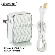 ทบทวน Remax Rp U41 ที่ชาร์จ 4Usb Charger Adapter 6A สีเงิน Remax Rc 041M สายชาร์จ Data Cable For Samsung Andriod ยาว 1เมตร สีขาว
