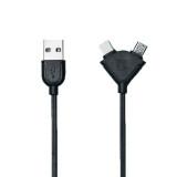 โปรโมชั่น Remax Souffle Rc 031T สายชาร์จ หัวเสียบแบบ Combo ชาร์จได้ทั้ง Iphone Ipad Micro Usb Black ไทย