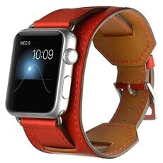 Replacement Genuine Leather Watch Band Cuff Strap Wristband for Apple Watch Series 3 Series 1 Series