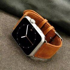 Retro Style Crazy Horse Leather Watch Band with Lugs Adapters for Apple Watch Series 2 Series 1 38mm - Brown - intl