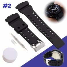 ซื้อ Rubber Wristband Black Silicone Military Sweatband Sport Straps Watchband For Casio With Stainless Steel Buckle 2Pcs Pins Tools Black Intl ถูก ใน แองโกลา