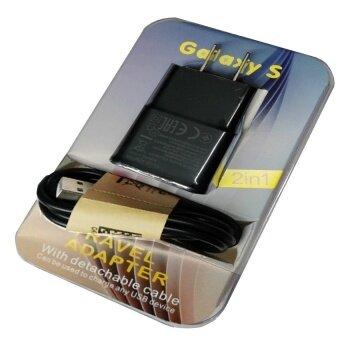 ที่ชาร์ต Samsung Galaxy S Micro USB Data Cable + Home Wall Charger (สีดำ) ใช้ได้กับSamsung