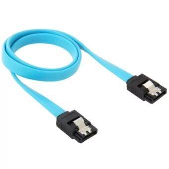 สาย SATA 3 6Gbps SATA 3.0 Cable 26AWG ความยาว 40ซม. SATA III SATA 3 Cable Flat Data Cord for HDD SSD (สีฟ้า) สายแปลง Power