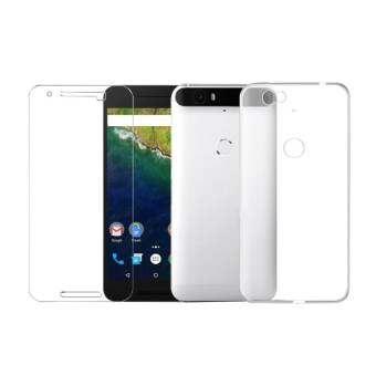 หน้าจอกระจกเทมเปอร์ + Ultra Thin ด้านหลังนุ่ม TPU เคสโทรศัพท์สำหรับ Huawei Google Nexus 6 จุด - INTL