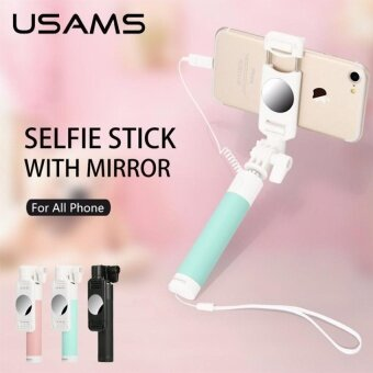 Selfie Stick USAMS Wired Extendable Handheld Monopod Tripod SelfieMirror for iPhone 4 5 6 7 Plus Selfiestick for mobile phoneGreen - intl