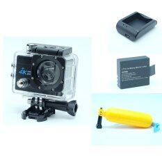 "set สุดคุ้ม extreme actioncam กล้องกันน้ำ 4k 30fps 16M wifi หน้าจอ 2"" เคสกันน้ำ พร้อมแบตเสริมและแท่นชาตและทุ่นลอยน้ำ (สีดำ)"