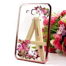 Siam tablet shop เคส TPU ครอบหลัง ขอบสีไฮโซ ลายดอกไม้ Samsung Galaxy Tab 3V T110/T111 / Tab 3 7 Lite(Gold)