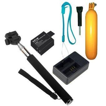SJCAM Battery 900mAh+Dual External Charger+Monopod Selfie+Bobber Floating ( Black )