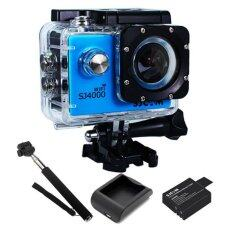 SJCAM SJ4000 Wi-Fi 12MP Model 2016เมนูไทย จอ2.0นิ้ว(Blue) +Battery+Charger+Monopod