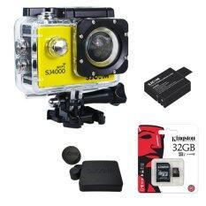 ขาย ซื้อ ออนไลน์ Sjcam Sj4000 Wi Fi 12Mp Model 2016เมนูไทย จอ2 0นิ้ว Yellow Battery Cover Lens Kingston Micro Sd 32Gb