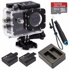 "SJCAM SJ4000 WiFi 2.0"" with extra Memory Sandisk extreme 32GB + Self-stick + Battery and Dual Charger"