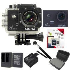 SJCAM Sj5000 WiFi 14MP (Black) +Micro SD Kingston 32GB+Battery+Dual Charger+Monopod+Bag (Black)