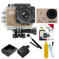 SJCAM Sj5000 WiFi 14MP (Gold) +Micro SD Kingston 32GB+Battery+Charger+Monopod+Bobber Floating