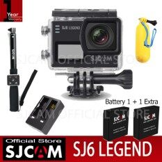 SJCAM SJ6 LEGEND 4K 24fps 16Mp กล้องกันน้ำ (Black)+Battery+Dual-Charger+Bobber+Remote Selfie